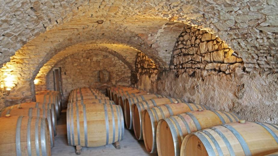vault from the wine cellar in Chateau de Lancyre AOC Coteaux du Languedoc Pic Saint Loup