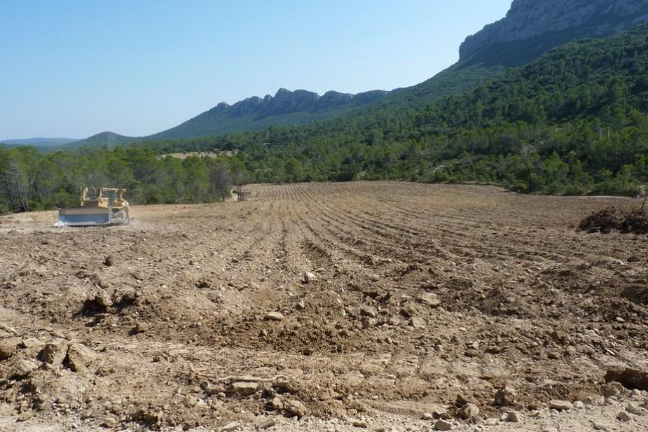 preparation ground Chateau de Lancyre AOC Coteaux du Languedoc Pic Saint Loup