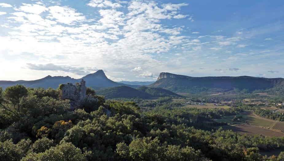 B vue du Pic saint Loup depuis les tours de sales Chateau de Lancyre, vignerons en AOC Coteaux du Languedoc Pic Saint Loup
