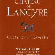 Etiquette de Clos des Combes vin rouge Chateau de Lancyre AOC Coteaux du Languedoc Pic Saint Loup
